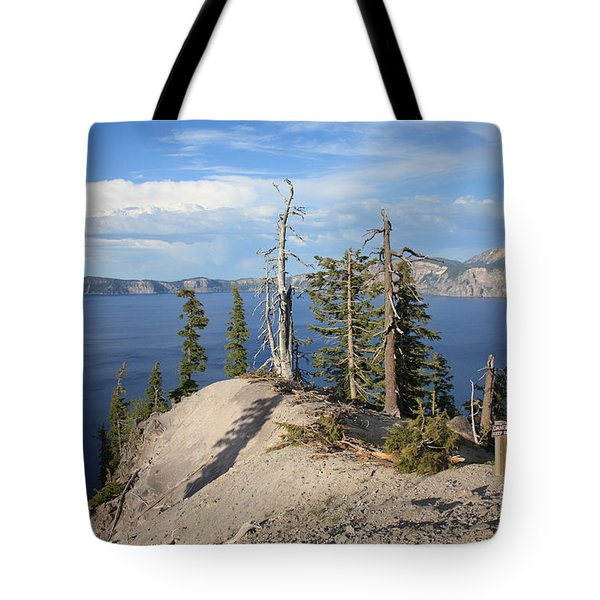 Dangerous Slope At Crater Lake Tote Bag by Carol Groenen