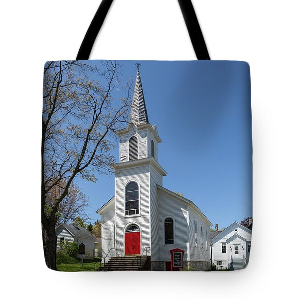 Tote Bag featuring the photograph Danish Lutheran Church by Fran Riley