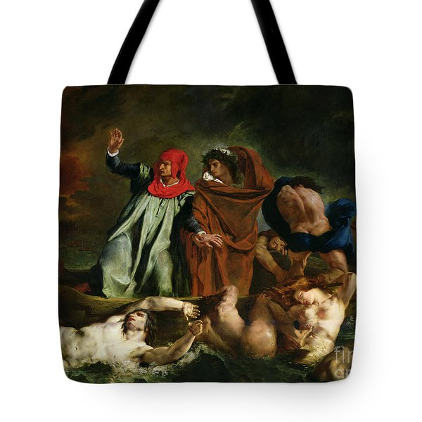 Dante And Virgil In The Underworld Tote Bag by Ferdinand Victor Eugene Delacroix