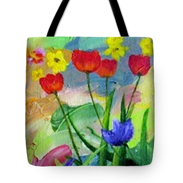Tote Bag featuring the painting Daria's Flowers by Jamie Frier