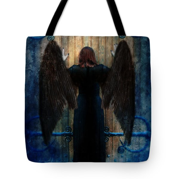 Dark Angel At Church Doors Tote Bag by Jill Battaglia