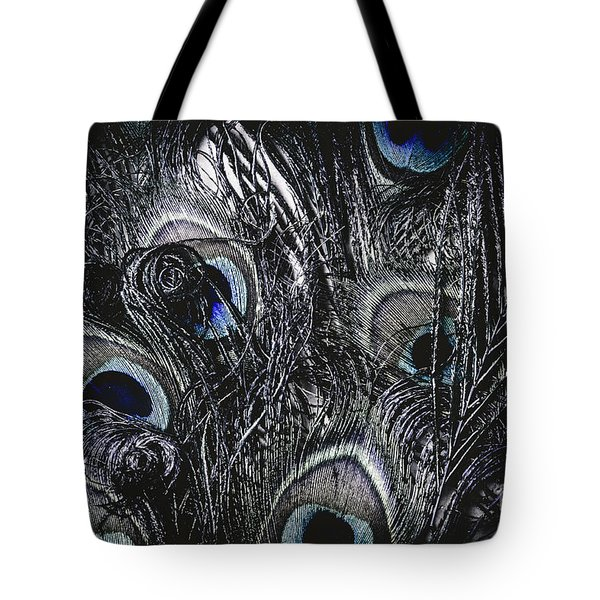 Dark Blue Peacock Feathers  Tote Bag
