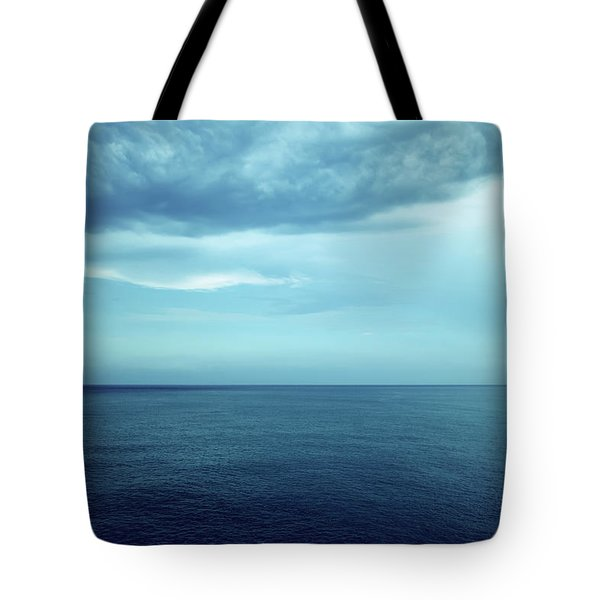 Dark Blue Sea And Stormy Clouds Tote Bag
