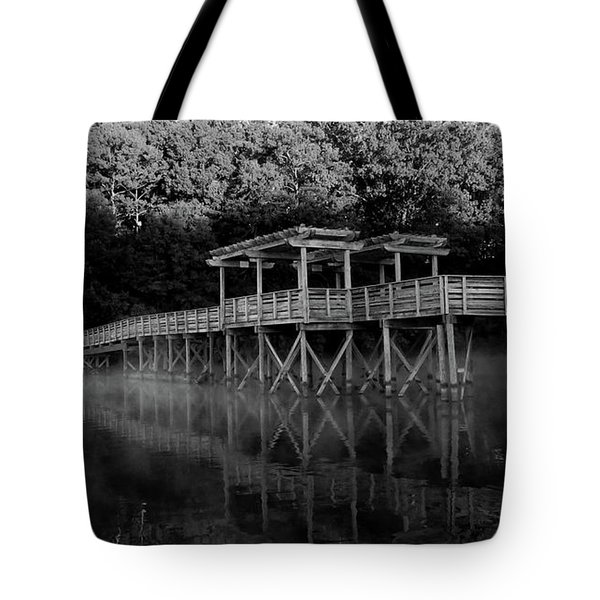 Tote Bag featuring the digital art Dark Bridge by Kathleen Illes