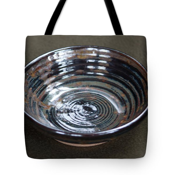 Dark Brown And Red Ceramic Bowl Tote Bag by Suzanne Gaff