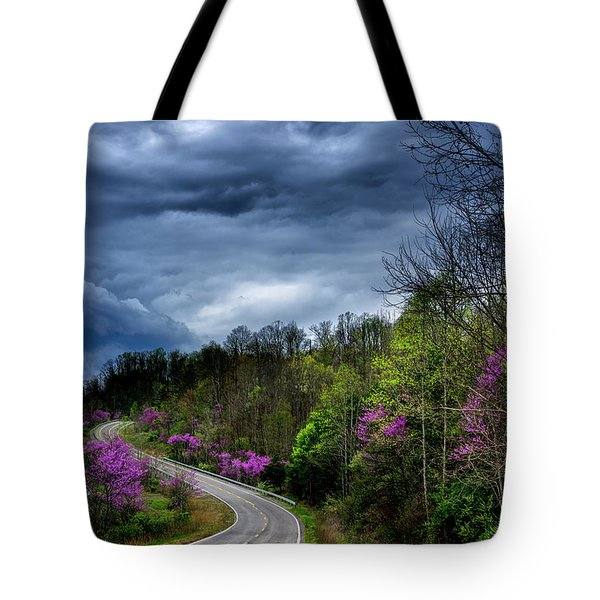 Tote Bag featuring the photograph Dark Clouds Over Redbud Highway by Thomas R Fletcher