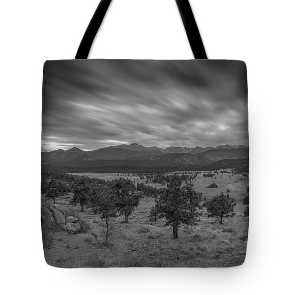 Dark Clouds Passing In Rocky Mountains Np Black And White Tote Bag