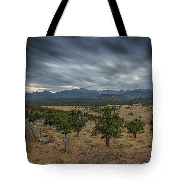 Dark Clouds Passing In Rocky Mountains Np Tote Bag