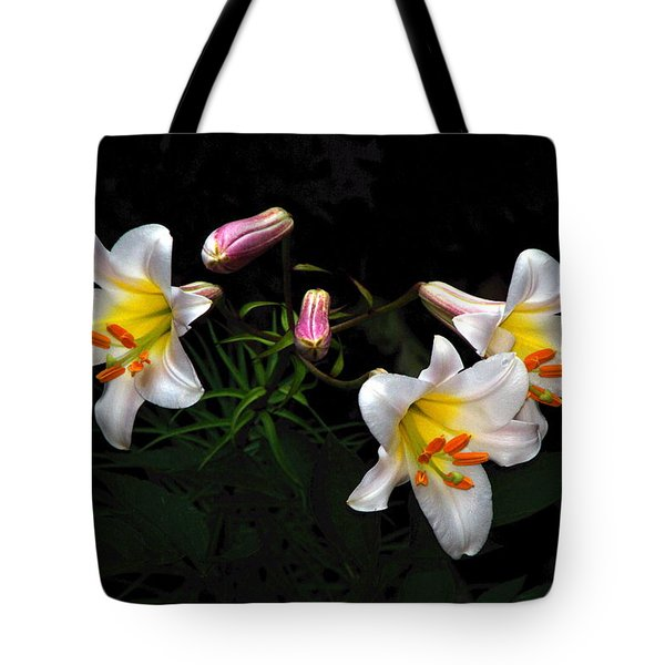 Tote Bag featuring the photograph Dark Day Bright Lilies by Byron Varvarigos