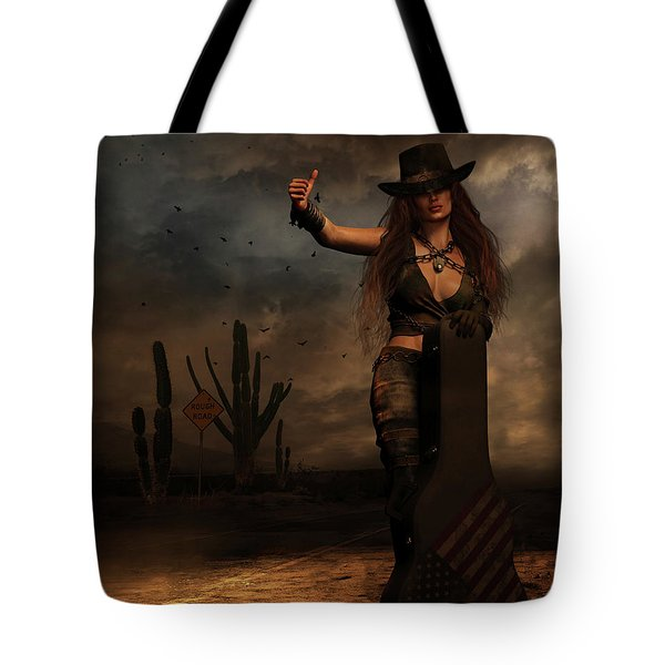 Tote Bag featuring the digital art Dark Desert Highway by Shanina Conway