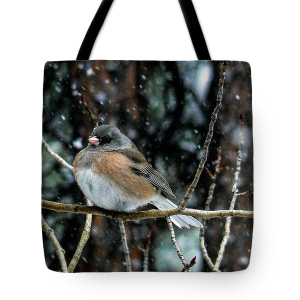 Dark-eyed Junco During A Snowfall Tote Bag