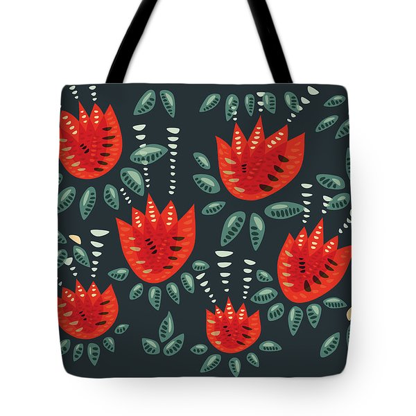 Dark Floral Pattern Of Abstract Red Tulips Tote Bag
