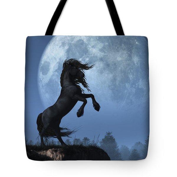 Tote Bag featuring the digital art Dark Horse And Full Moon by Daniel Eskridge