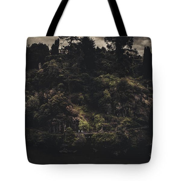 Dark Landscape Photograph Of Distant People Hiking Tote Bag