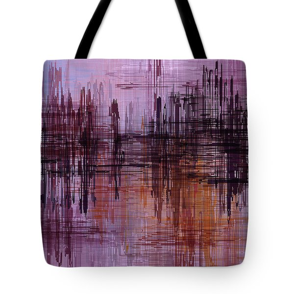 Tote Bag featuring the painting Dark Lines Abstract And Minimalist Painting by Ayse Deniz