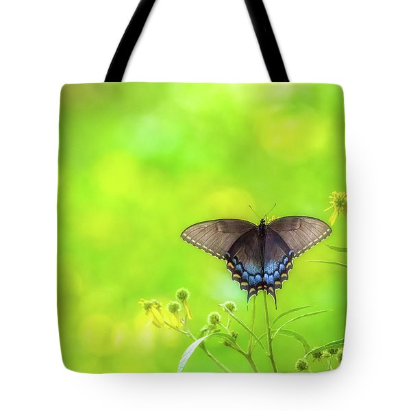 Tote Bag featuring the photograph Dark Morph Female Tiger Swallowtail Butterfly by Lori Coleman