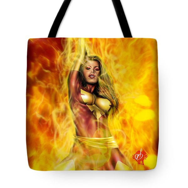 Tote Bag featuring the painting Dark Phoenix by Pete Tapang