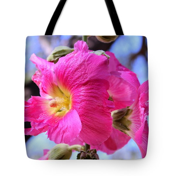 Tote Bag featuring the photograph Dark Pink Hollyhock 2 by M Diane Bonaparte