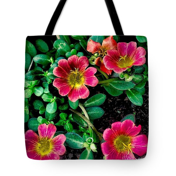 Dark Pink Purselane Flowers Tote Bag