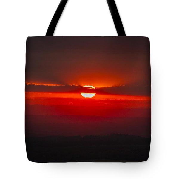 Dark Red Sun In Vogelsberg Tote Bag