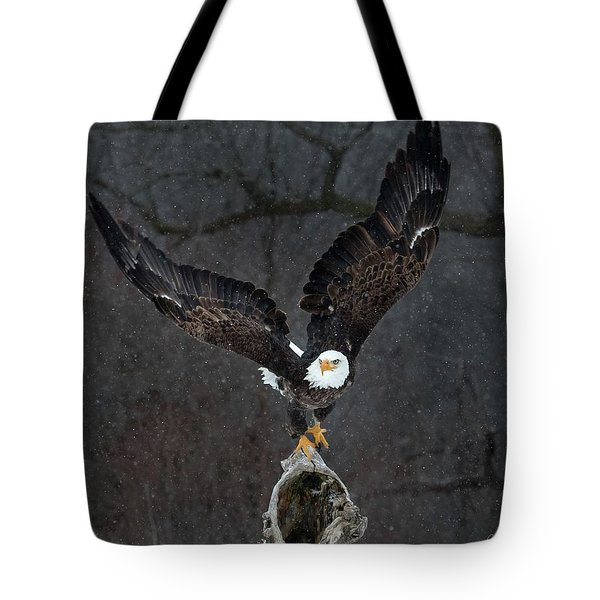 Dark Snowstorm Tote Bag