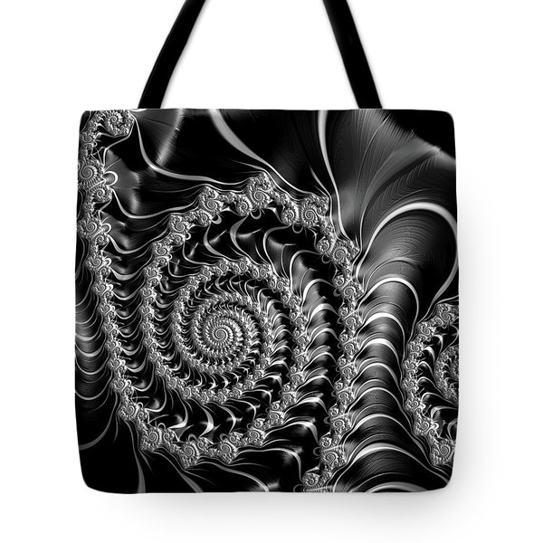Dark Spirals - Fractal Art Black Gray White Tote Bag