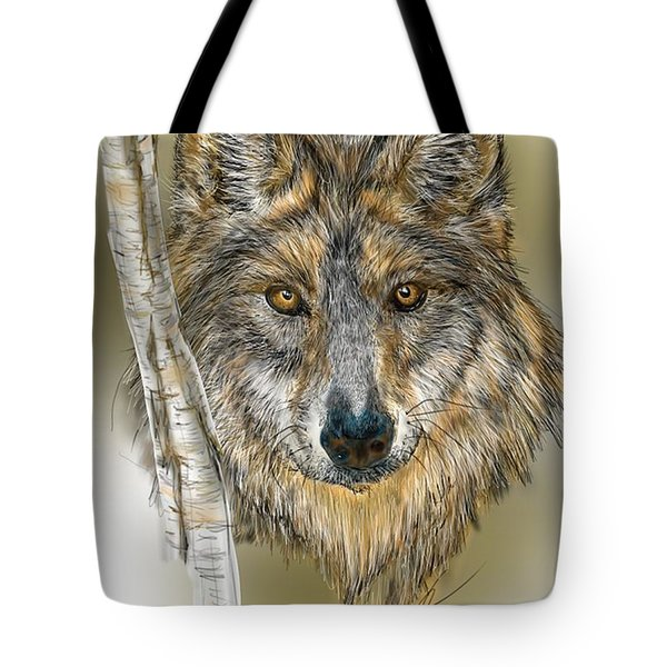 Tote Bag featuring the digital art Dark Wolf With Birch by Darren Cannell