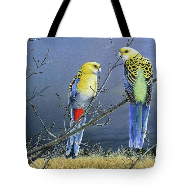 Darkness Before The Deluge - Pale-headed Rosellas Tote Bag