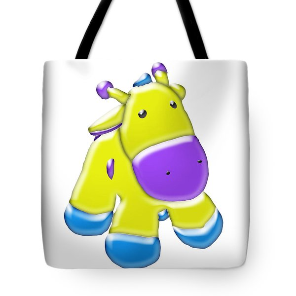 Tote Bag featuring the digital art Darling Calf Cartoon by Karen Nicholson
