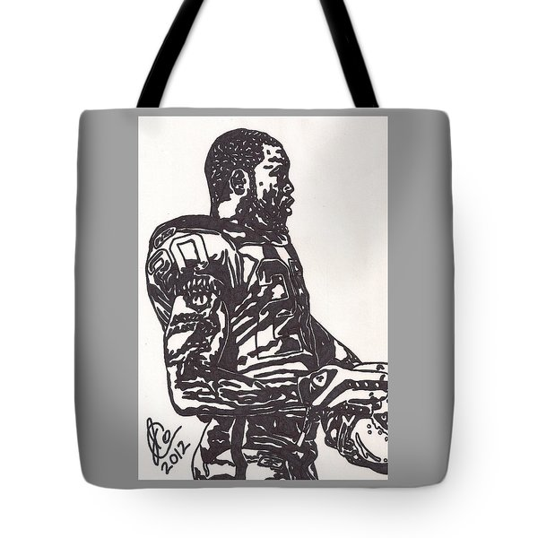 Tote Bag featuring the drawing Darren Mcfadden 1 by Jeremiah Colley