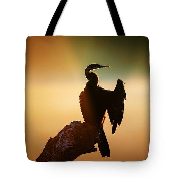 Darter Bird With Misty Sunrise Tote Bag