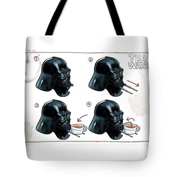 Tote Bag featuring the digital art Darth Vader Tea Drinking Star Wars by Martin Davey