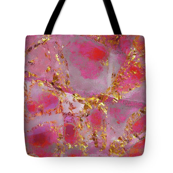 Tote Bag featuring the mixed media Dauntless Pink by Menega Sabidussi