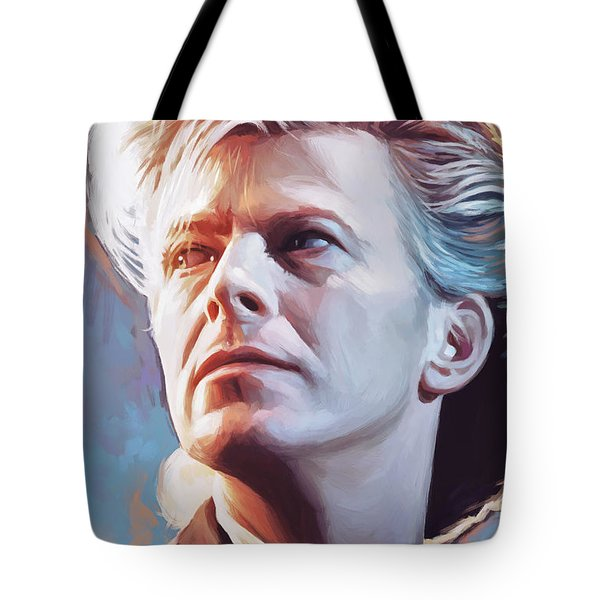Tote Bag featuring the painting David Bowie Artwork 2 by Sheraz A