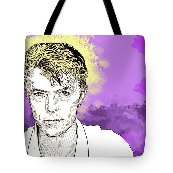 Tote Bag featuring the drawing David Bowie by Jason Tricktop Matthews