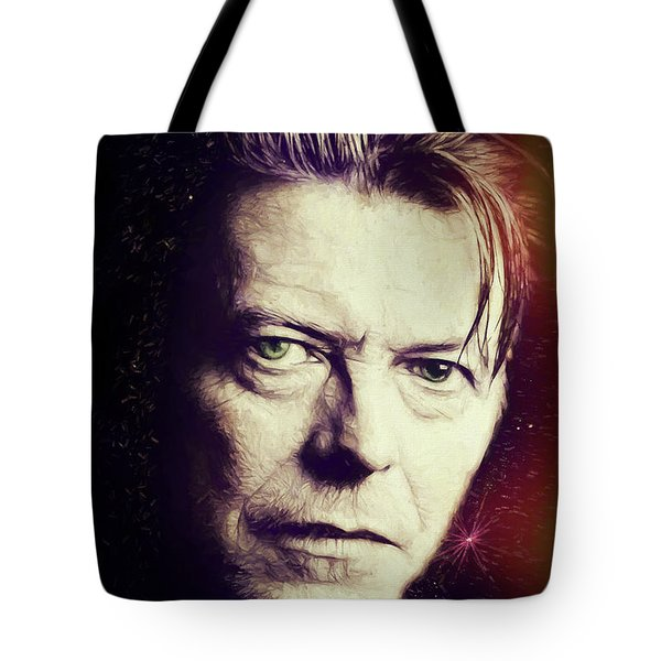 Tote Bag featuring the digital art David Bowie by John Haldane