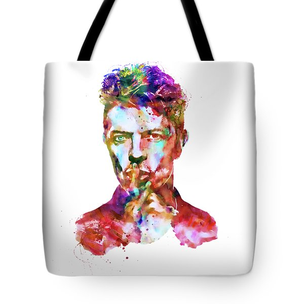Tote Bag featuring the mixed media David Bowie  by Marian Voicu