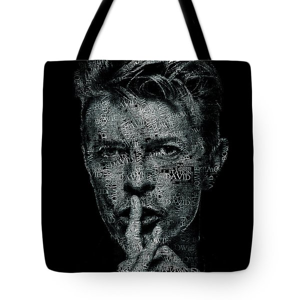 David Bowie Text Portrait - Typographic Face Poster Created With All The Album Titles By David Bowie Tote Bag