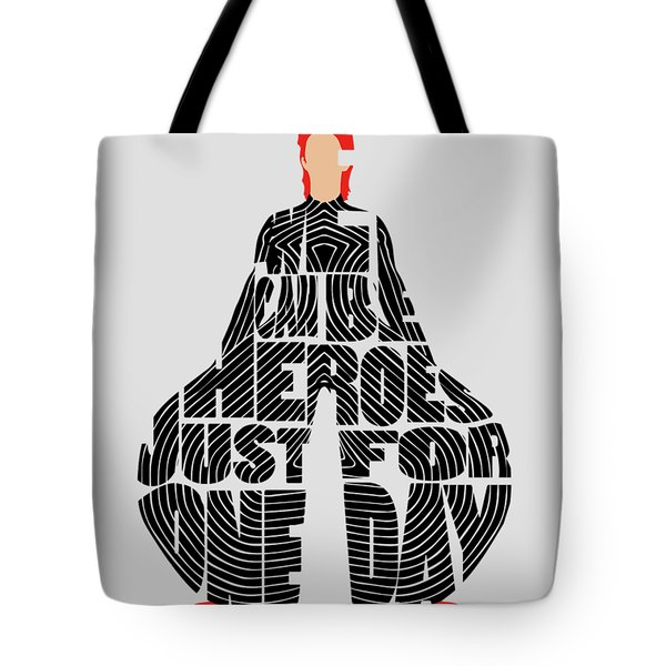 David Bowie Typography Art Tote Bag