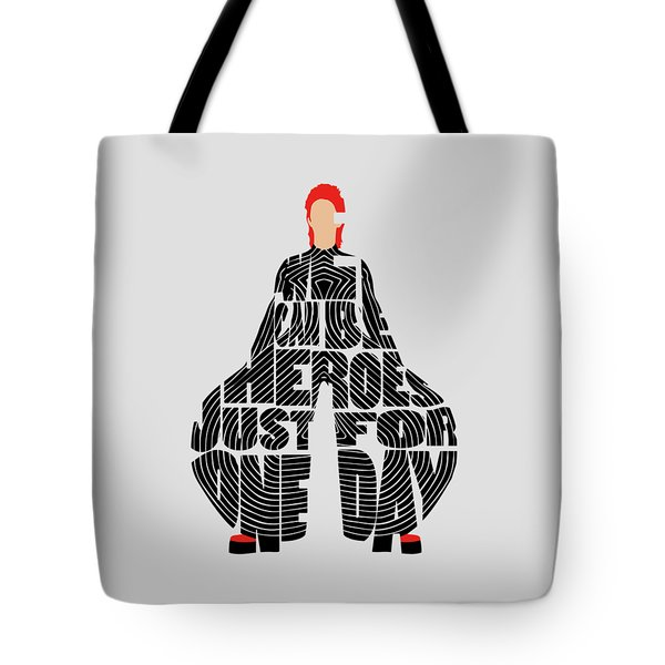 Tote Bag featuring the digital art David Bowie Typography Art by Inspirowl Design