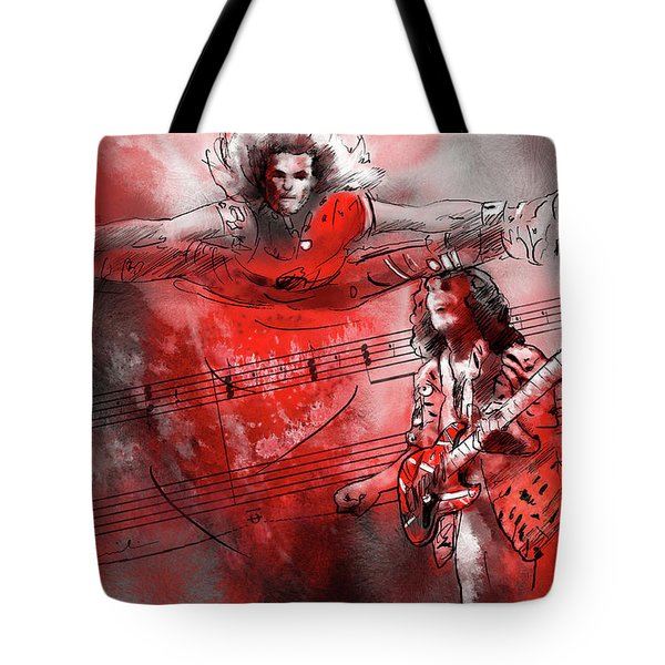 David Lee Roth And Eddie Van Halen Jump Tote Bag by Miki De Goodaboom