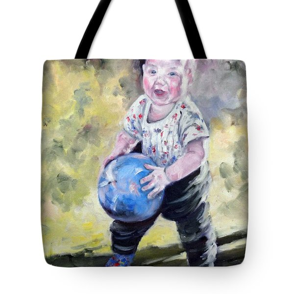 David With His Blue Ball Tote Bag