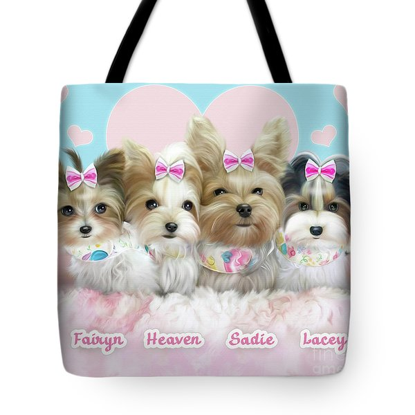 Tote Bag featuring the painting Davidson's Furbabies by Catia Lee