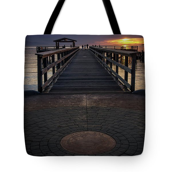 Davis Bay Pier Evening Light Tote Bag