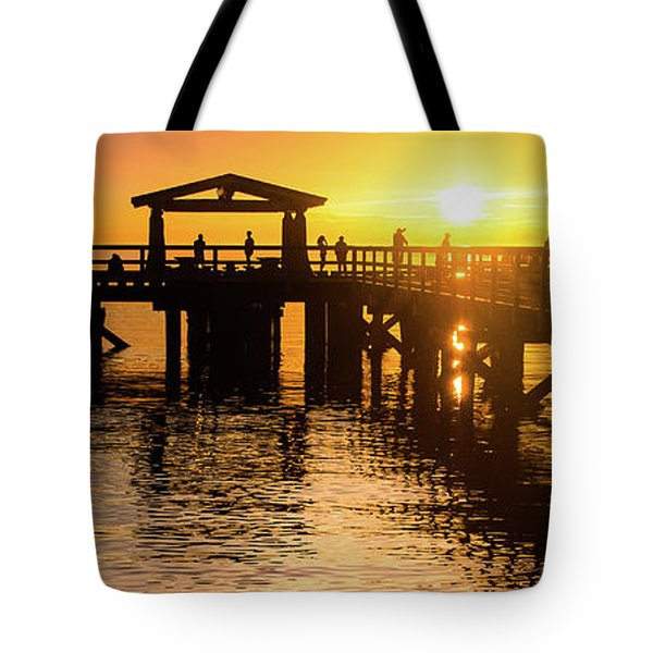Davis Bay Pier Sunset 3 Tote Bag