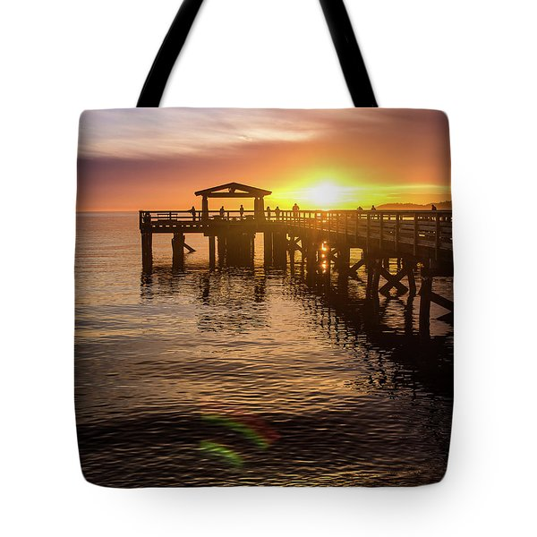 Davis Bay Pier Sunset 4 Tote Bag