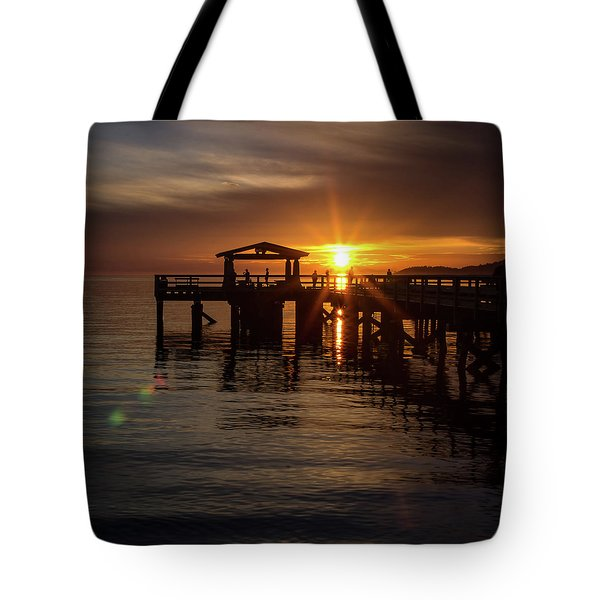 Davis Bay Pier Sunset Tote Bag