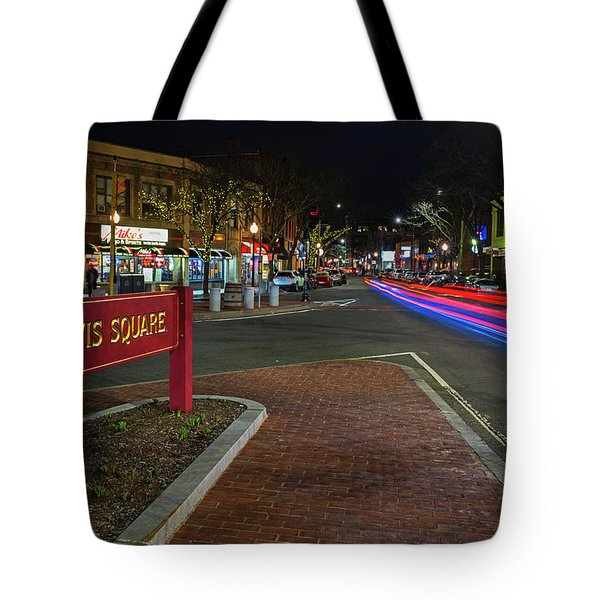 Davis Square Sign Somerville Ma Mikes Tote Bag