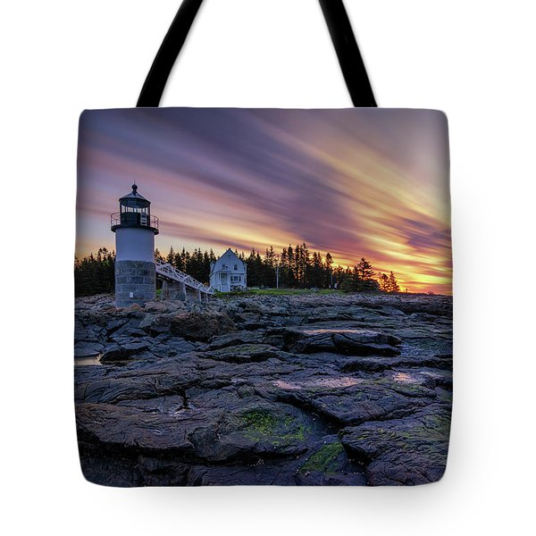 Dawn Breaking At Marshall Point Lighthouse Tote Bag