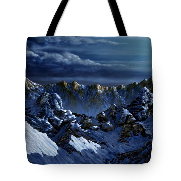 Tote Bag featuring the digital art Dawn At Eagle's Peak by Curtiss Shaffer